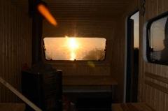 solnedgang set fra saunavogn